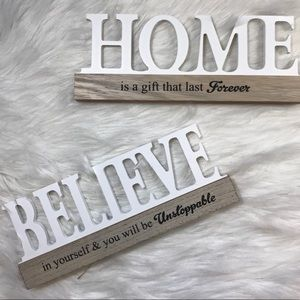 Other - HOME & BELIEVE sign home decor pair